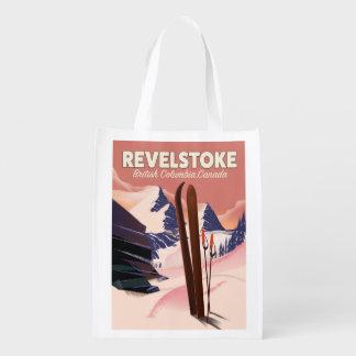 Bolsa De La Compra Reutilizable Columbia Británica de Revelstoke, poster del esquí