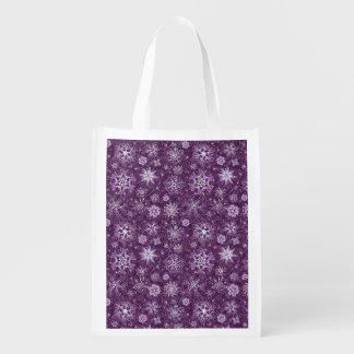 Bolsa De La Compra Reutilizable Copos de nieve púrpuras para el dolor crónico