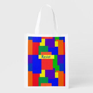 Bolsa De La Compra Reutilizable El arco iris resiste diseño del edredón de