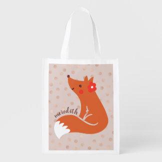 Bolsa De La Compra Reutilizable El Fox lindo con la flor/se ruboriza fondo del