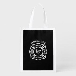 Bolsa De La Compra Reutilizable Esposa de los bomberos