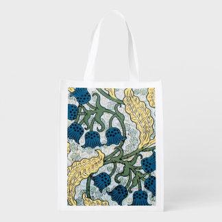 Bolsa De La Compra Reutilizable Estampado de flores de repetición azul