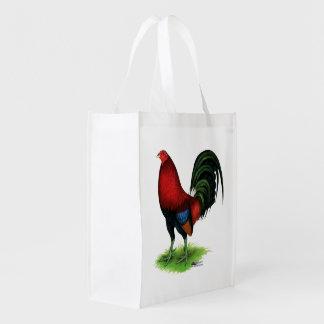 Bolsa De La Compra Reutilizable Gallo de pelea:  Rojo oscuro