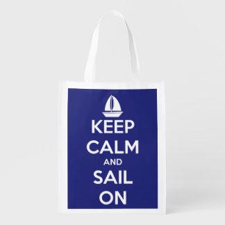 Bolsa De La Compra Reutilizable Guarde la calma y navegue en azul y el blanco