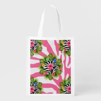 Bolsa De La Compra Reutilizable Hibisco tropical y rayas rosadas exóticas de la