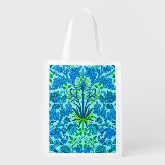 Bolsa De La Compra Reutilizable Impresión del jacinto de William Morris, azul
