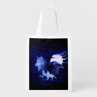 Bolsa De La Compra Reutilizable Lobos y cuervo con la Luna Llena