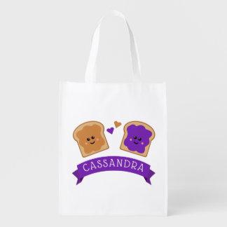 Bolsa De La Compra Reutilizable Mantequilla y jalea lindas de cacahuete