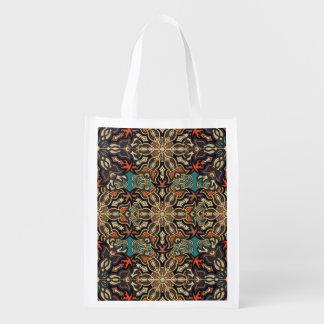 Bolsa De La Compra Reutilizable Modelo floral étnico abstracto colorido de la
