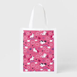 Bolsa De La Compra Reutilizable Modelo lindo de los unicornios