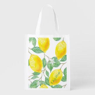 Bolsa De La Compra Reutilizable Modelo watercolored elegante del limón en el