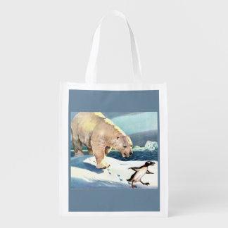 Bolsa De La Compra Reutilizable oso polar y pingüino de los años 40