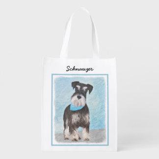 Bolsa De La Compra Reutilizable Pintura (miniatura) del Schnauzer - perro original