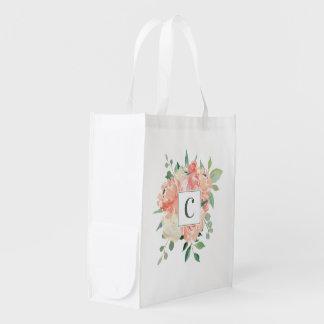 Bolsa De La Compra Reutilizable Ramo floral de la acuarela del melocotón con el