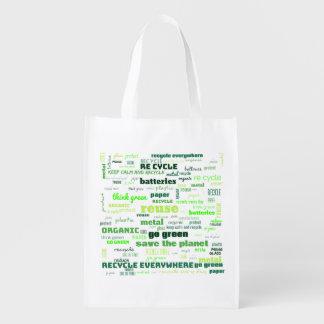Bolsa De La Compra Reutilizable Reduzca, reutilice, recicle la nube de la palabra