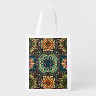 Bolsa De La Compra Reutilizable Remiendo del vintage con los elementos florales de