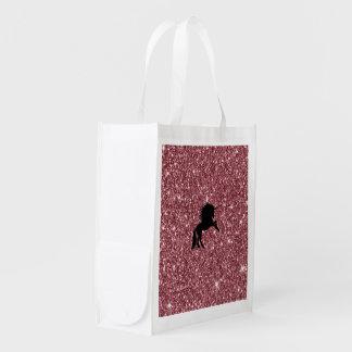 Bolsa De La Compra Reutilizable rosa chispeante del unicornio