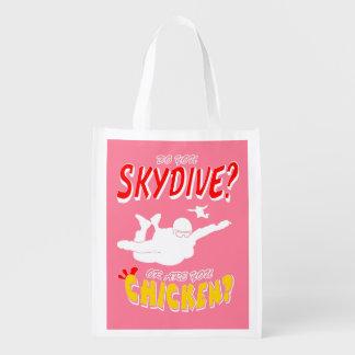 Bolsa De La Compra Reutilizable ¿Skydive o pollo? (blanco)