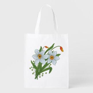 Bolsa De La Compra Reutilizable Tulipanes y flores de los narcisos