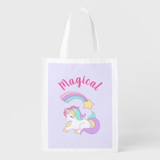 Bolsa De La Compra Reutilizable Unicornio mágico con la estrella fugaz del arco