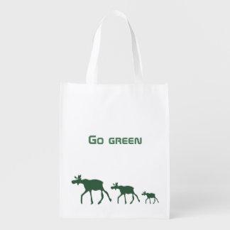 Bolsa De La Compra Reutilizable Va el verde con los alces