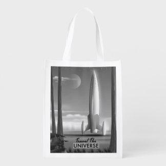 Bolsa De La Compra Reutilizable Viaja el universo mono (la impresión de la edición