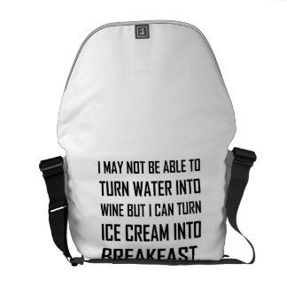 Bolsa De Mensajeria Chiste del desayuno del helado del vino del agua