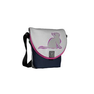 Bolsa De Mensajería Combinado: logotipo/gato rosado, terraplén gris