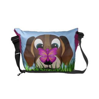 Bolsa De Mensajeria Perro lindo del beagle y las bolsas de mensajero