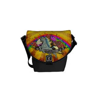 Bolsa De Mensajeria Unicornio impresionante, arco iris y tocino de la