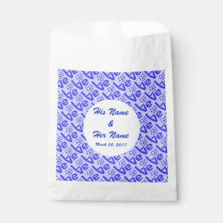 Bolsa De Papel AMOR griego azul en cuadrados Squiggly azules