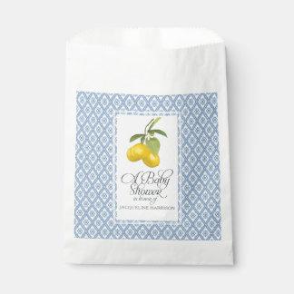 Bolsa De Papel Azul del limón del cortijo de Boho del muchacho de