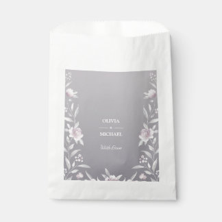 Bolsa De Papel Boda de plata floral del Chinoiserie de la