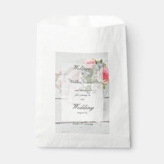 Bolsa De Papel Boda editable del vintage de la flor romántica de