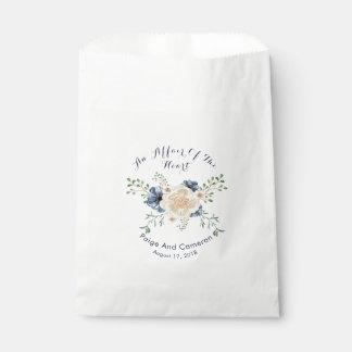 Bolsa De Papel Boda floral del jardín de los azules añiles y del