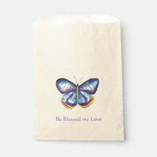 Bolsa De Papel Bolso azul del favor del amor de las bendiciones