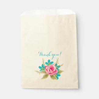 Bolsa De Papel Bolso con las flores y el texto: ¡Gracias!