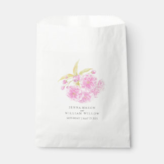 Bolsa De Papel Bolso rosado del favor del boda de la acuarela de