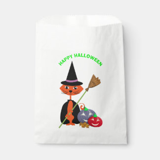 Bolsa De Papel Bruja linda del gato del feliz Halloween