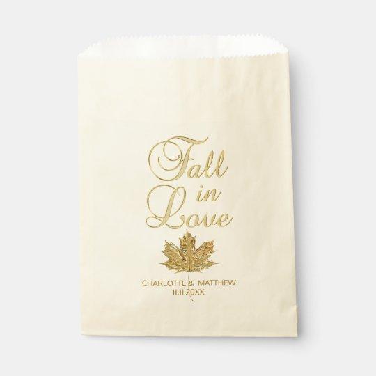 Bolsa De Papel CAÍDA EN el boda de la hoja de arce del oro del