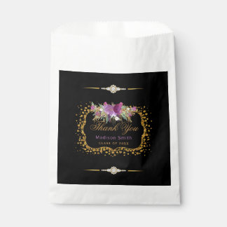Bolsa De Papel Confeti del oro de la flor de la acuarela del