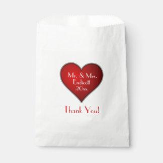 Bolsa De Papel Corazón rojo romántico con la fecha del nombre y