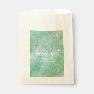 Bolsa De Papel El amor bonito del boda de la verde menta es dulce