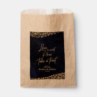 Bolsa De Papel El amor del boda de la acuarela y del oro de los