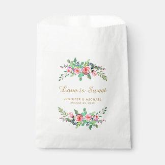 Bolsa De Papel El amor elegante floral del oro es bolso dulce del