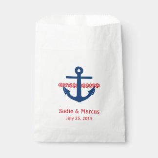 Bolsa De Papel El amor es ancla y cuerda náuticas dulces en rojo