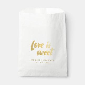 "Bolsa De Papel El ""amor es"" texto dulce del oro del bolso del"