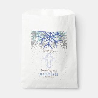 Bolsa De Papel El bautismo de plata del copo de nieve de los