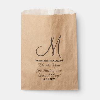 Bolsa De Papel El boda elegante simple le agradece con monograma