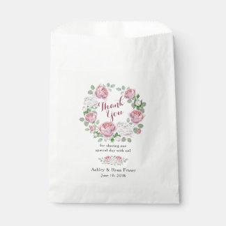 Bolsa De Papel El boda floral color de rosa rosado de Borgoña le